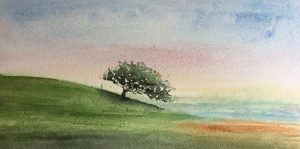watercolor landscape with tree