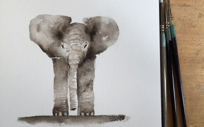 How to watercolor a baby elephant