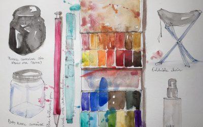 Preparing art supplies to go Urban Sketching