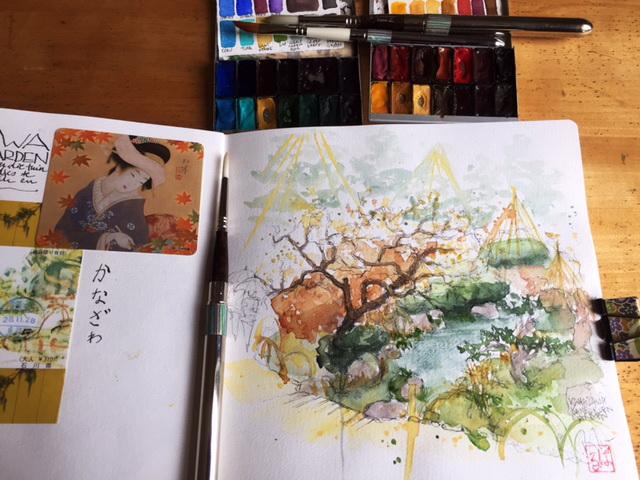 Urban sketching in Kenrokuen garden in Kanazawa, Japan