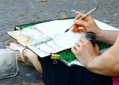 urban sketching in Rome