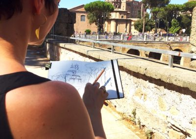 drawing the fori imperiali in rome